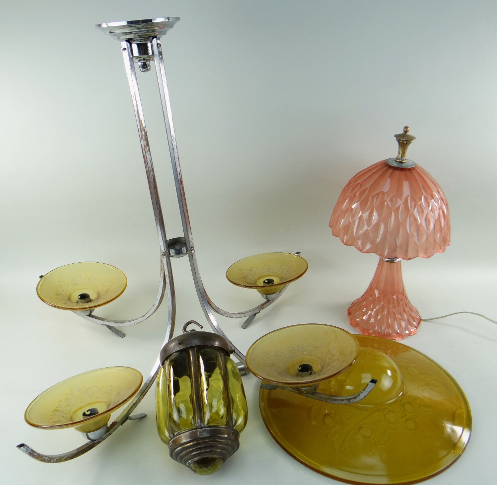 THREE CONTINENTAL LIGHTS, comprising a chrome and amber glass ceiling lamp with four branches,