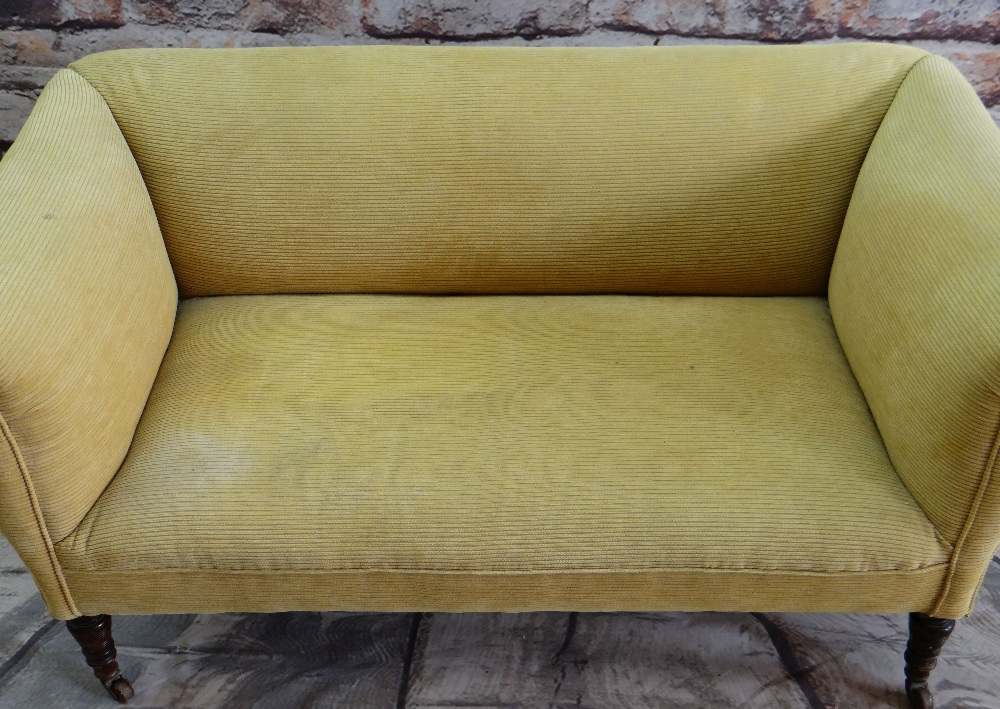VICTORIAN WALNUT TWO-SEATER SOFA, later yellow ribbed upholstery, turned legs, castors 142 x 70cms - Image 2 of 3