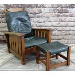 WARREN HILE OAK MISSION STYLE ARMCHAIR & STOOL, with slatted sides and reclining back, black leather