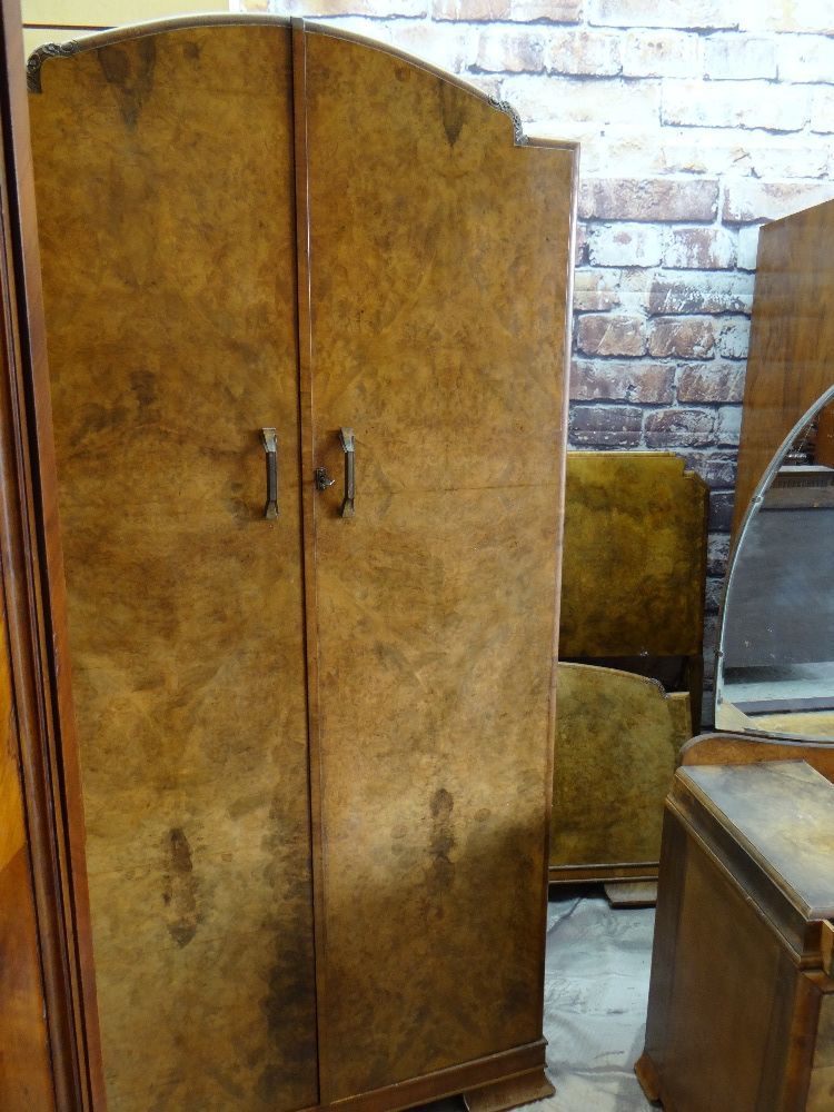 1930s BURR WALNUT BEDROOM SUITE, including pair of wardrobes, dressing table and single bed (4) - Image 3 of 5