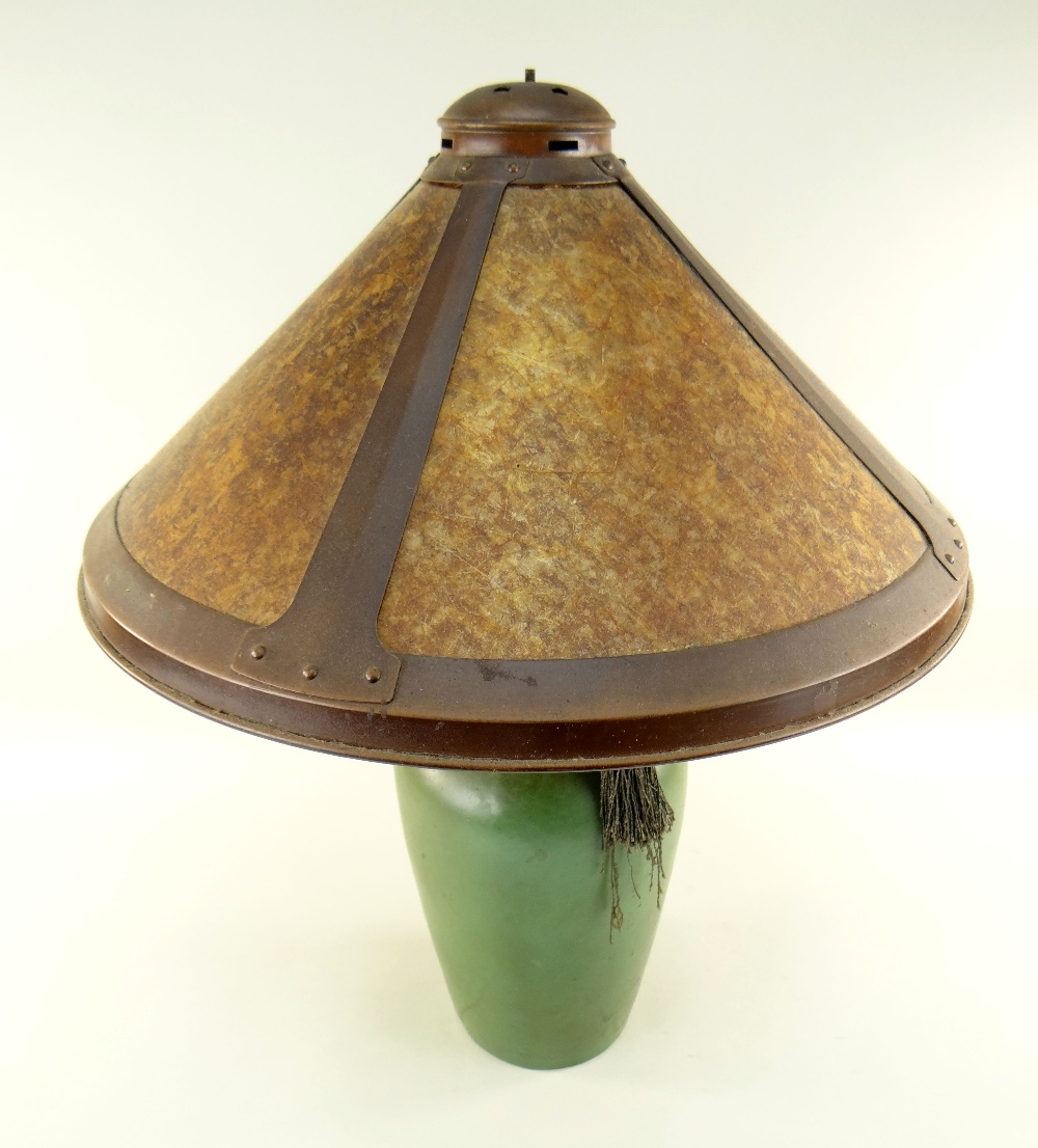ARTS & CRAFTS DIRK VAN ERP-STYLE TABLE LAMP, conical simulated mica shade with riveted straps, on - Image 2 of 3