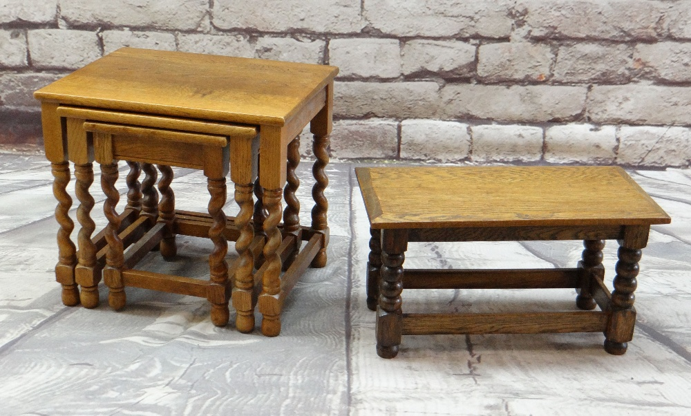 OAK OCCASIONAL TABLES comprising nest of three with barley twist legs and a low table or stool - Image 2 of 2