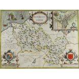 JOHN SPEED coloured antique map of Denbigh Shire (Sudbury & Humble), 38 x 51cms, framed