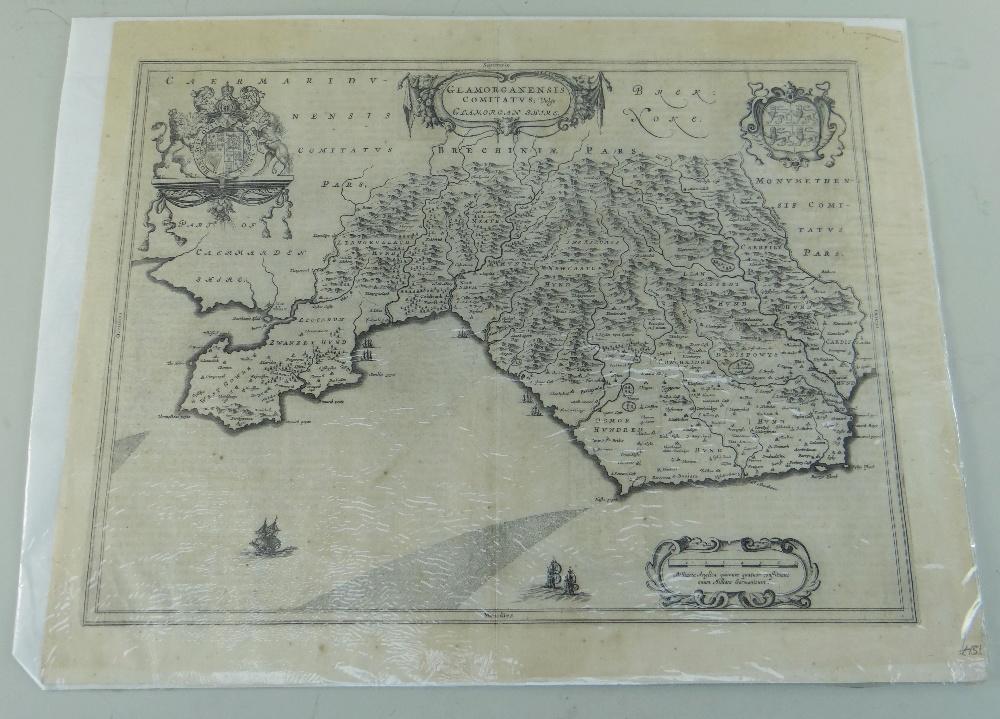 JOHANNE BLAEU uncoloured antique map of Glamorgan, c.164 7, 45 x 56cms, unframed