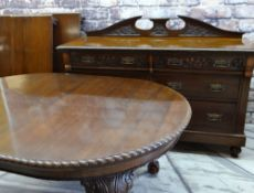 EDWARDIAN MAHOGANY SIDEBOARD & VICTORIAN-STYLE DINING TABLE, sideboard with six graduated drawers,