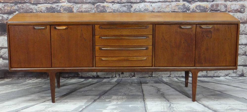 JOHN HERBERT FOR A.YOUNGER LTD.MID-CENTURY TEAK SIDEBOARD, fitted four central drawers flanked by