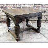ELIZABETHAN-STYLE STAINED OAK DRAW LEAF DINING TABLE, 283cms long (extended))