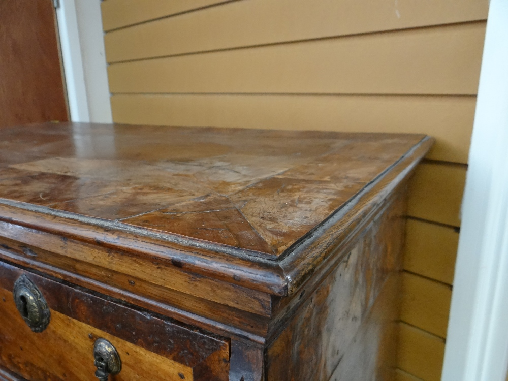 QUEEN ANNE WALNUT & BURR WALNUT CROSSBANDED CHEST ON STAND, veneered top and cornice above two short - Image 13 of 44