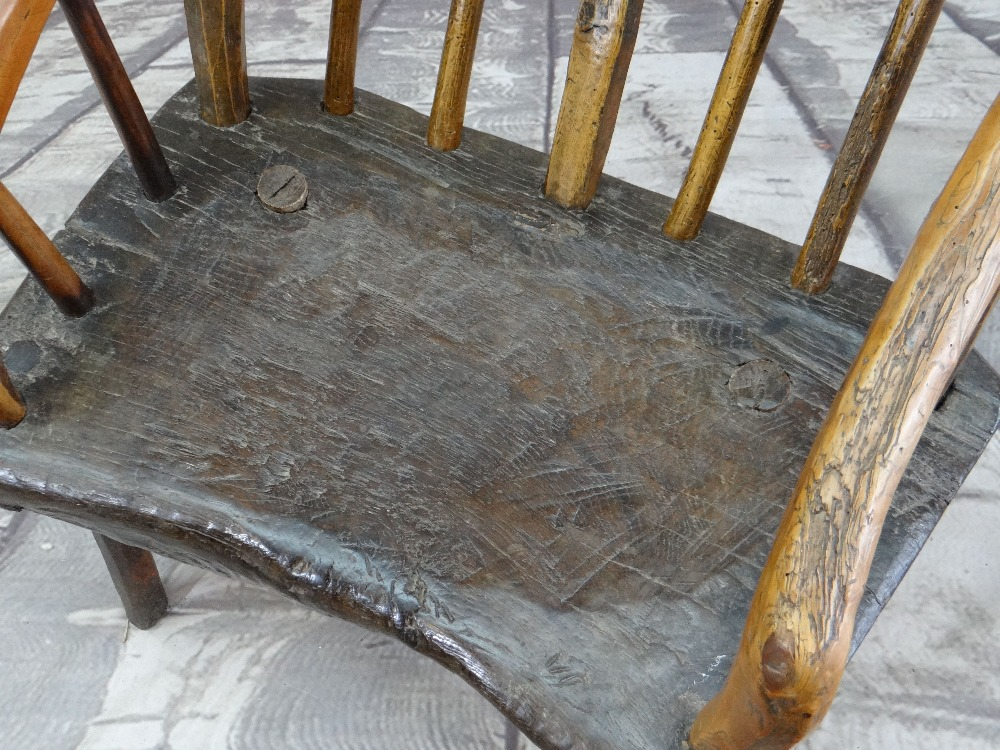 PRIMITIVE OAK & ASH ARMCHAIR, raked comb back with spindles and down-turned arms, thick - Image 2 of 5