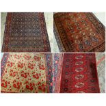 ASSORTED ORIENTAL RUGS, including Tekke with kilim ends, 193 x 127cm; Persian rug with allover