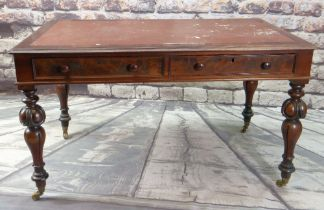GOOD MID-VICTORIAN WALNUT LIBRARY TABLE, red leather-inset moulded top above two frieze drawers to