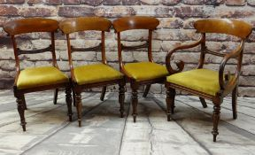 SET OF FOUR MID-VICTORIAN WALNUT DINING CHAIRS, bowed backs and carved crossbars,drop-in seats,