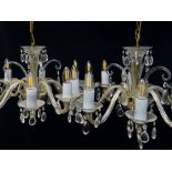 PAIR MODERN VICTORIAN-STYLE CUT GLASS 8-BRANCH CHANDELIERS, faceted drops and swags, 60cm diam. 30cm
