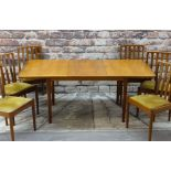 MEREDEW AVALON TEAK DINING SUITE, circs 1980s comprising extending dining table, 183cms wide (