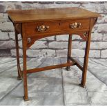 ARTS & CRAFTS WALNUT SIDE TABLE, fitted frieze drawer, H-stretcher, 76 x 45cms Condition Report: