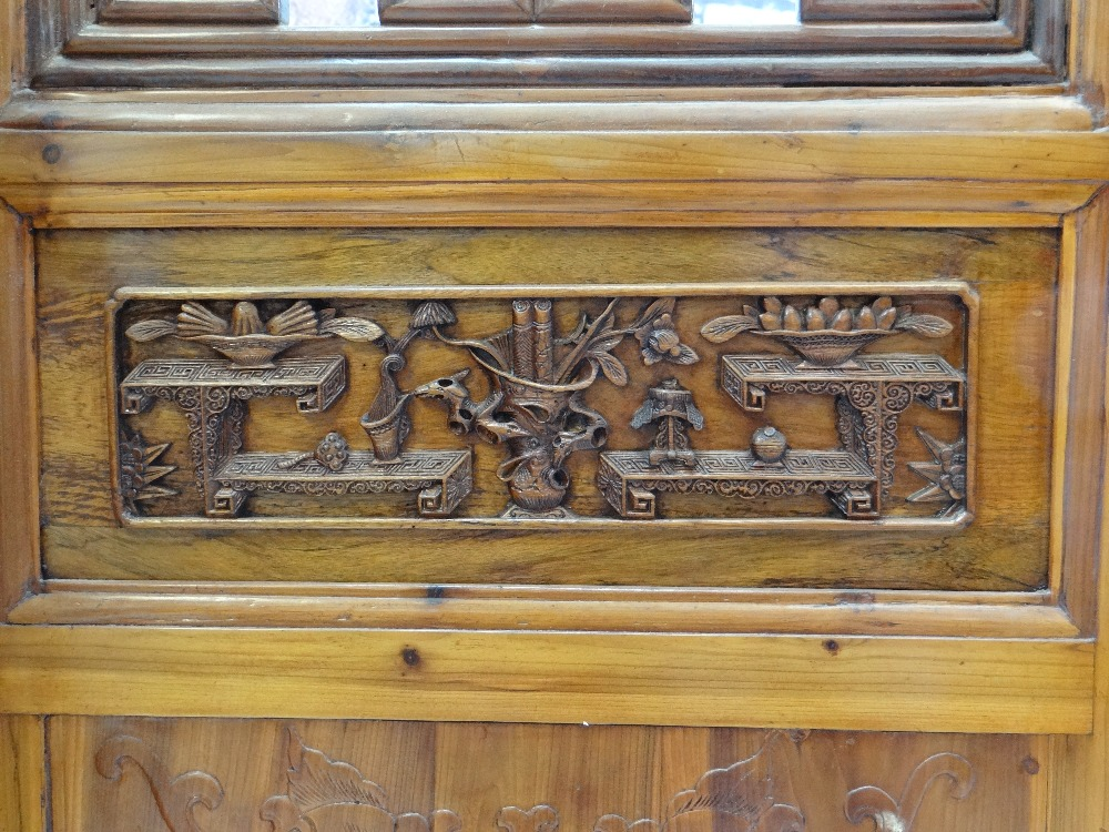 LARGE CHINESE ELM SIX-LEAF SCREEN, reticulated top and centre panels decorated with bats, cash and - Image 4 of 12