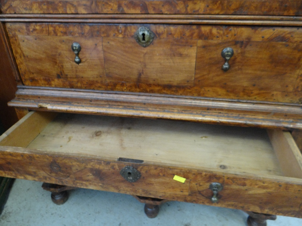 QUEEN ANNE WALNUT & BURR WALNUT CROSSBANDED CHEST ON STAND, veneered top and cornice above two short - Image 34 of 44