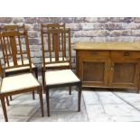 ASSORTED OCCASIONAL FURNITURE including set of four Edwardian crossbanded dining chairs and an oak
