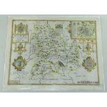 JOHN SPEED antique map of Breknoke (Sudbury & Humble) 1627, later coloured, 43 x 55cms, unframed