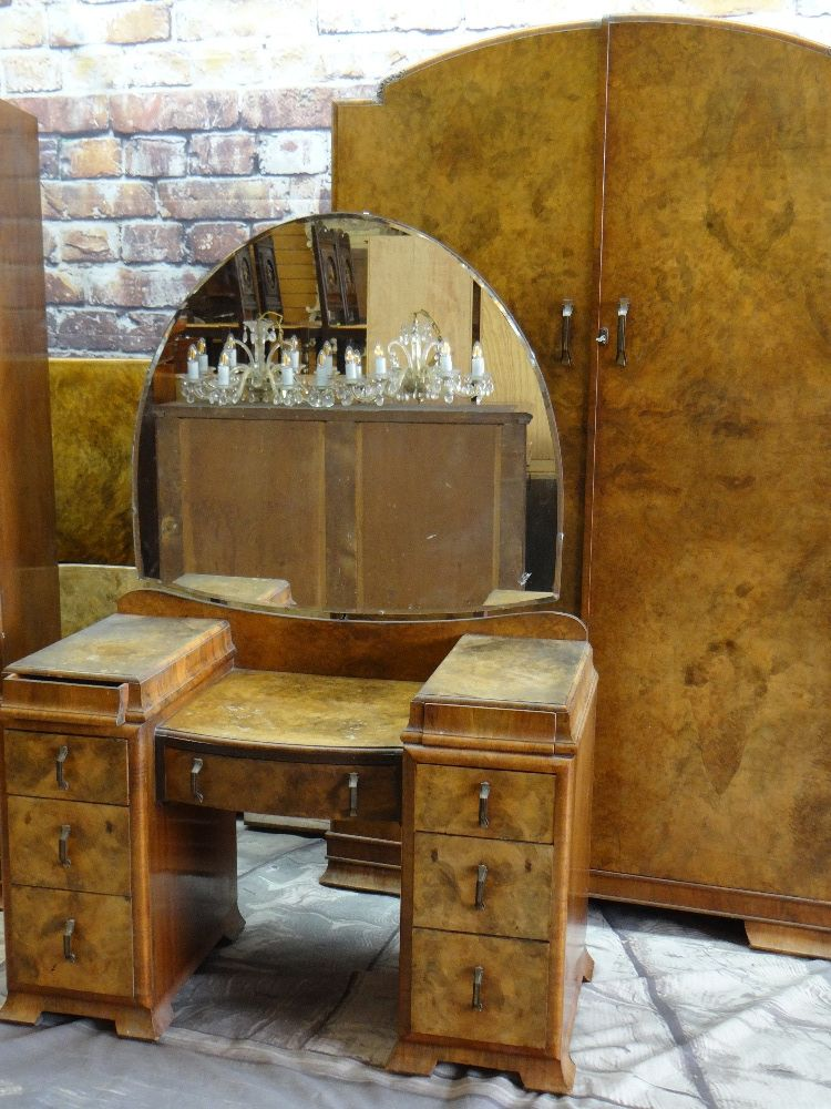 1930s BURR WALNUT BEDROOM SUITE, including pair of wardrobes, dressing table and single bed (4) - Image 5 of 5