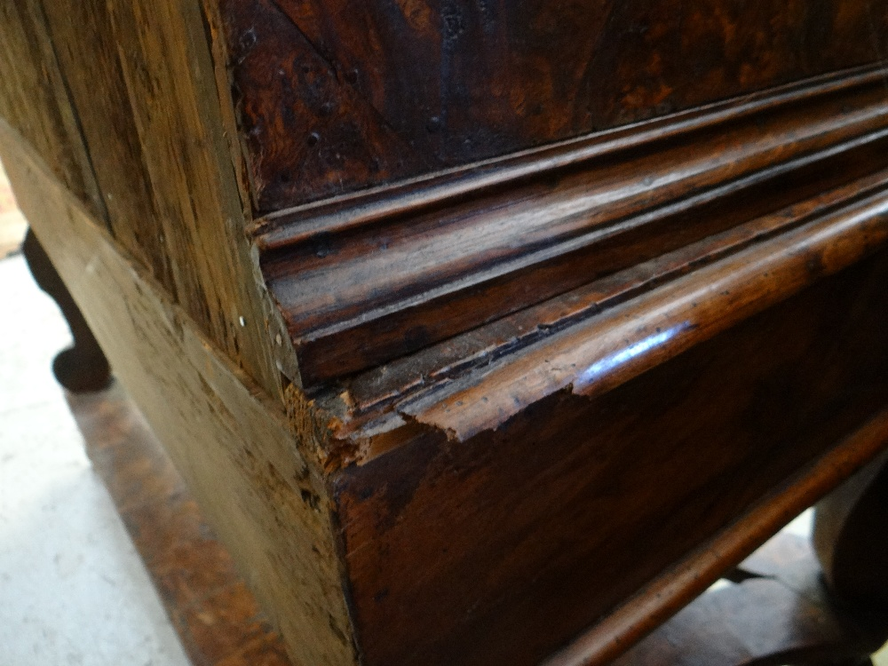 QUEEN ANNE WALNUT & BURR WALNUT CROSSBANDED CHEST ON STAND, veneered top and cornice above two short - Image 44 of 44