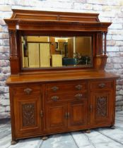 LATE VICTORIAN WALNUT MIRROR BACK SIDEBOARD, label for P E Gane, Cardiff, architectural top on