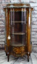 FRENCH TRANSITIONAL-STYLE KINGWOOD & GILT METAL MOUNTED MARQUETRY VITRINE, bowed glass sides and