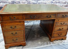 REPRODUCTION GEORGE III-STYLE PARTNERS DESK, leather inset top with slides, drawers and cupboards,