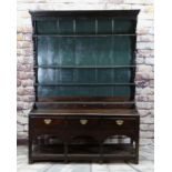 18TH CENTURY JOINED OAK WELSH DRESSER, probably Carmarthenshire, later painted boarded rack with