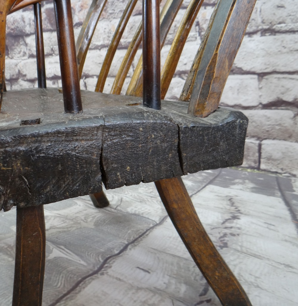PRIMITIVE OAK & ASH ARMCHAIR, raked comb back with spindles and down-turned arms, thick - Image 3 of 5