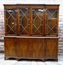 MODERN REPRODUCTION GEORGIAN-STYLE BREAKFRONT BOOKCASE, 196 x 36 x 201cms Condition: generally