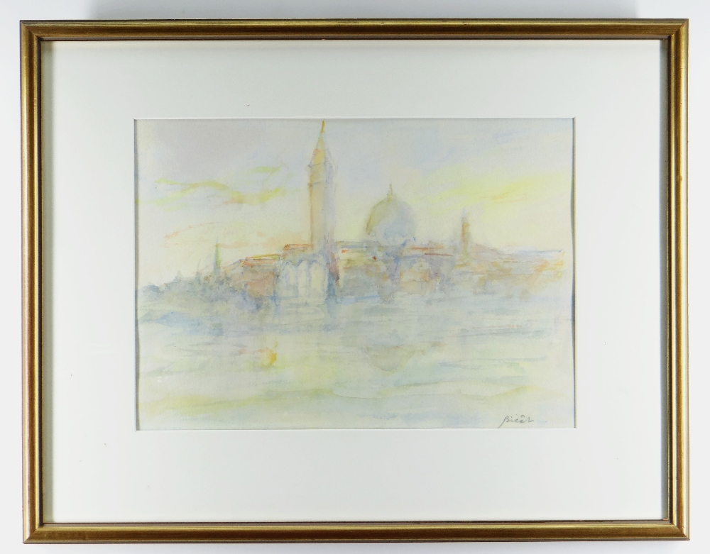 ANDRE BICAT (1909-1996) two watercolours - (1) titled on Attic Gallery Swansea label 'Morning - Image 3 of 3