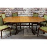 MID-CENTURY G-PLAN TEAK OVAL EXTENDING DINING TABLE & SIX CHAIRS, 208cms wide, chairs upholstered in