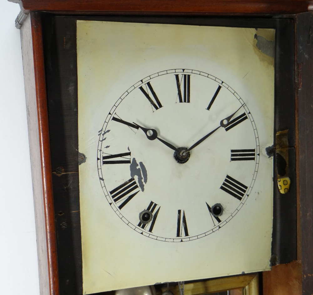 19TH CENTURY AMERICAN WALNUT MARQUETRY DROP DIAL WALL CLOCK, painted Roman dial and brass bobbin - Image 2 of 4