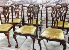 SET SIX GEORGIAN-STYLE MAHOGANY DINING CHAIRS, pierced splats, drop-in serpentine seats, claw and