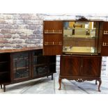 TWO REPRODUCTION CABINETS, comprising Queen Anne-style cocktail cabinet with mirror and glass fitted