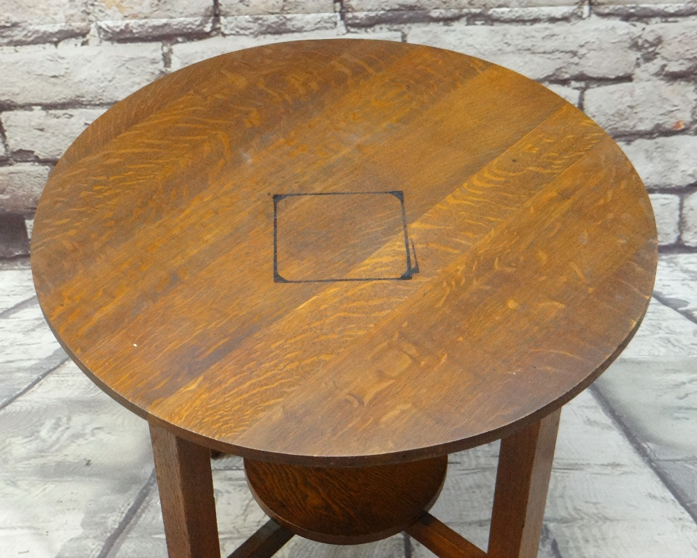 ARTS & CRAFTS LEOPOLD & JOHN GEORGE STICKLEY JOINED OAK TABLE, circular on four uprights joined by - Image 2 of 3