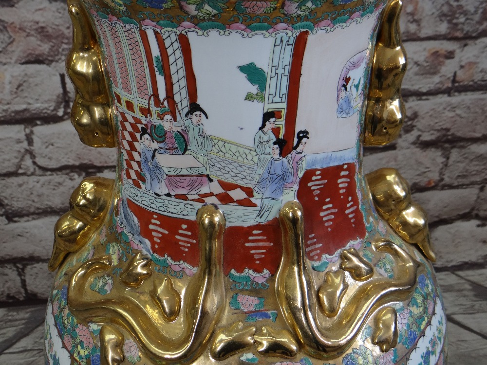 LARGE MODERN CHINESE CANTON FAMILLE ROSE FLOOR VASE, gilt handles, panels decorated with Manchu - Image 2 of 4