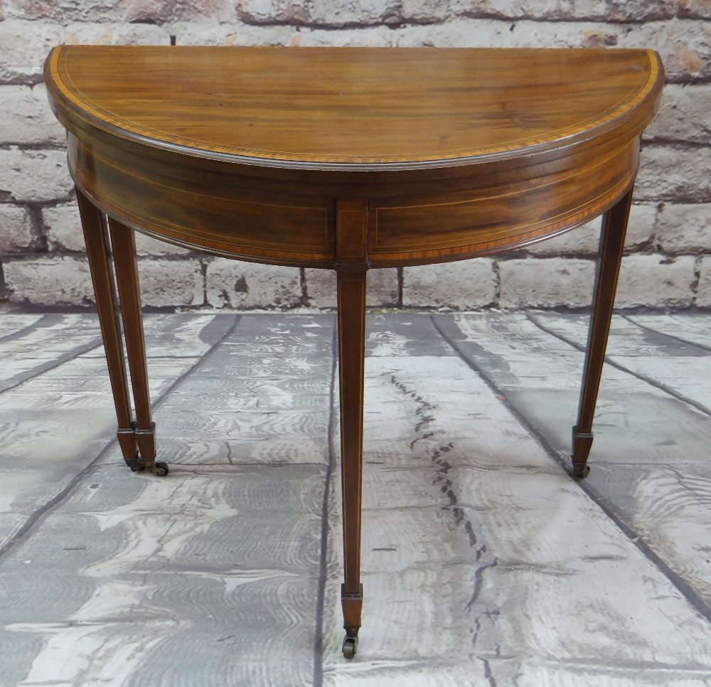 GEORGE III-STYLE MAHOGANY, SATINWOOD CROSSBANDED & BOXWOOD STRUNG CARD TABLE, of demi lune form, - Image 4 of 5