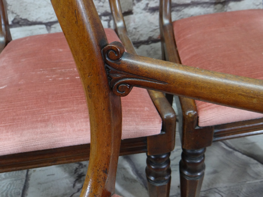 SET OF SIX VICTORIAN WALNUT BUCKLE BACK DINING CHAIRS with scroll carved cross bars and moulded seat - Image 2 of 3