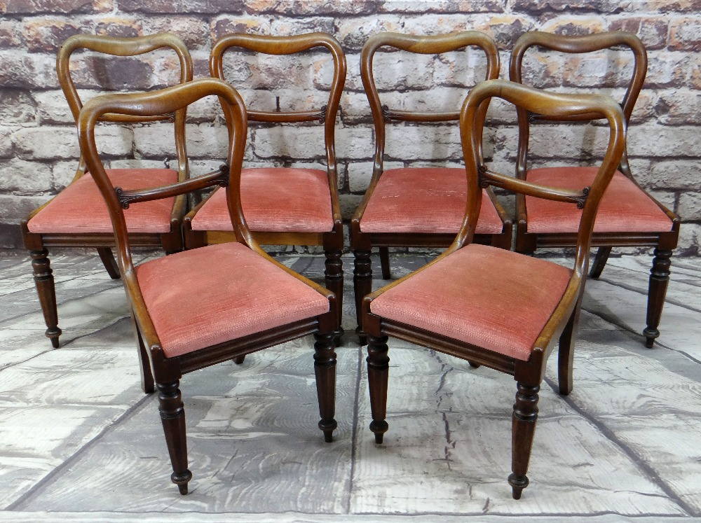 SET OF SIX VICTORIAN WALNUT BUCKLE BACK DINING CHAIRS with scroll carved cross bars and moulded seat