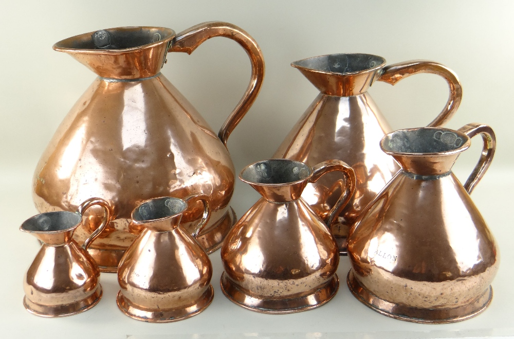 GRADUATED SET OF SIX COPPER HAY STACK MEASURES from 4 gallons to 1 pint (6)