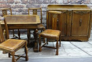 REPRODUCTION ELIZABETHAN STYLE CARVED OAK DINING SUITE comprising draw leaf dining table, four