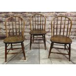 NEAR SET OF THREE 19TH CENTURY PROVINCIAL SPINDLEBACK CHAIRS, with bowed rails, turned legs and