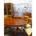 MODERN REPRODUCTION YEW WOOD FURNITURE, comprising extending dining table, 240cms long (extended),