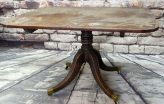 REGENCY MAHOGANY BREAKFAST TABLE, rectangular tilt-action top on ringed column support, channel-