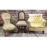 THREE UPHOLSTERED OCCASIONAL CHAIRS, including Victorian beech nursing chair, oak x-framed side