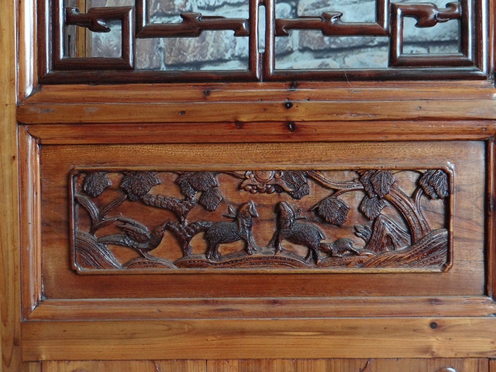 LARGE CHINESE ELM SIX-LEAF SCREEN, reticulated top and centre panels decorated with bats, cash and - Image 8 of 12
