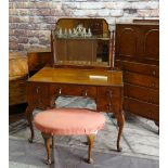 1930s QUEEN ANNE-STYLE WALNUT BEDROOM SUITE, including dressing table, tall chest with cupboard top,