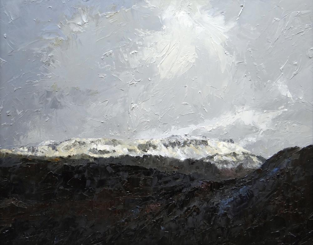 DAVID GROSVENOR large oil on canvas - dramatic North Wales landscape, entitled label verso '